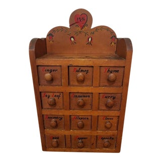 Handmade 12 Drawer Pine Spice Cabinet For Sale