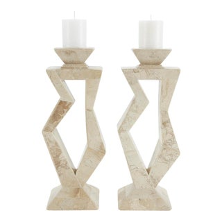 1990s Oversized Postmodern Tessellated Cantor Stone Candlesticks - a Pair For Sale