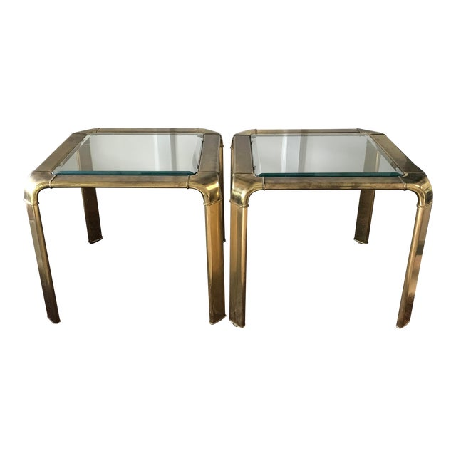 Mid Century Brass Waterfall Side Tables by Widdicomb, a Pair For Sale