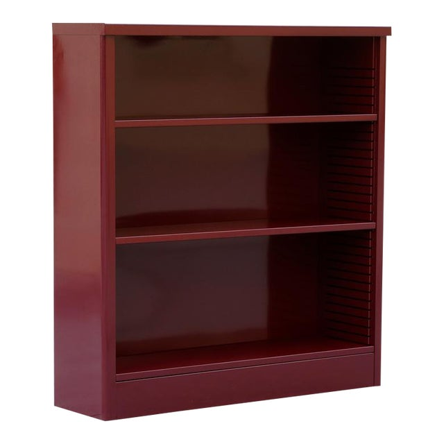 1960s Tanker Style Steel Bookcase Refinished in Red Wine For Sale