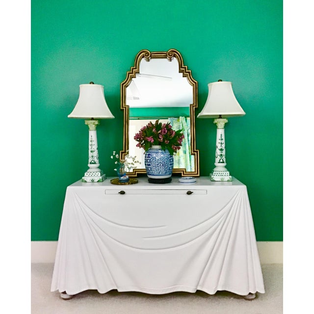 1980s Hollywood Regency Lacquered Parchment Trompe L'Oeil Drapery Console For Sale - Image 12 of 12