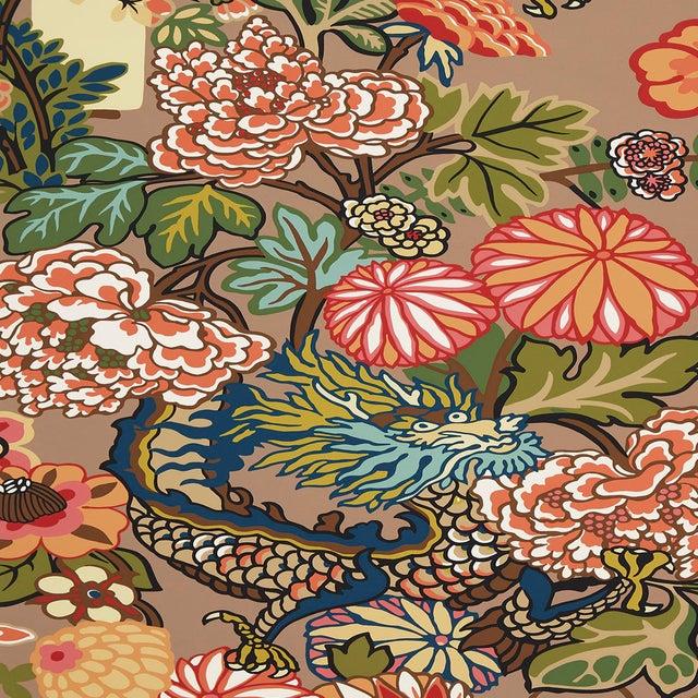 Art Deco Sample - Schumacher Chiang Mai Dragon Wallpaper in Mocha For Sale - Image 3 of 3