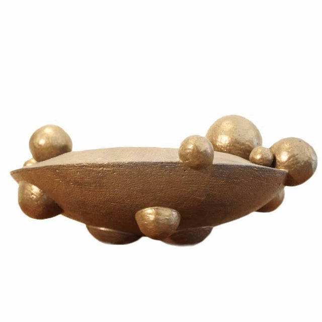 Gold Contemporary Bronze Orb Vessel For Sale - Image 8 of 8