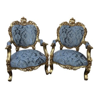 Italian Rococo Baroque Blue Silk Upholstered Bergere Chairs - A Pair For Sale