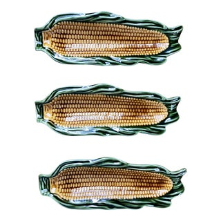Majolica Glazed Corn Ceramics- Set of 3