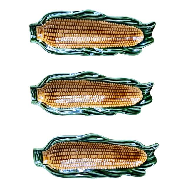 Majolica Glazed Corn Ceramics- Set of 3 For Sale