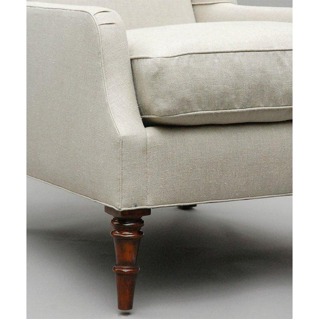 "Edwardian ""Selby"" by Lee Stanton Armchair Upholstered in Belgian Linen or Custom Fabric For Sale - Image 3 of 10"