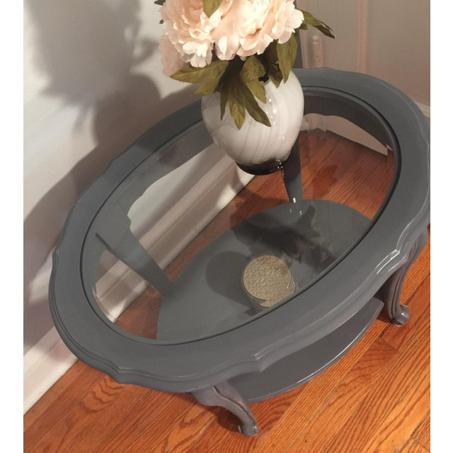 Painted Glass Top Side Table - Image 3 of 7