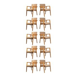 Set of Ten Fully Restored Vintage Franco Albini Dining Chairs Produced by Knoll For Sale