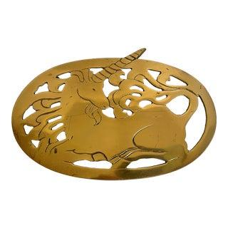 Postmodern Brass Unicorn Trivet For Sale
