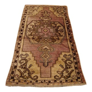 3.3 X 6.2 Ft Antique Hand-Knotted Brown Color Rug Turkish Vintage Handmade Wool Rug Traditional Tribal Weave Rug For Sale