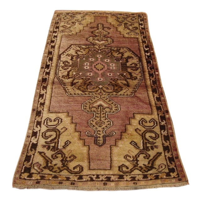 Antique Hand-Knotted Brown Turkish Rug -3′4″ × 6′3″