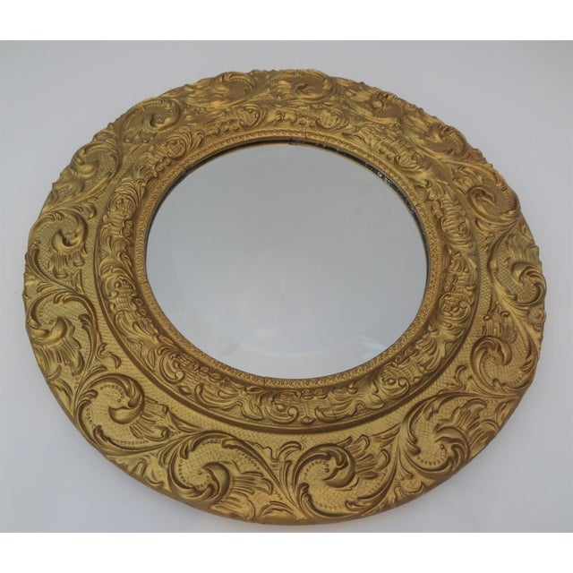 Vintage Gold Gilt Carved Wood Round Mirror - Image 2 of 5
