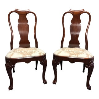Solid Mahogany Queen Anne Dining Side Chairs - Pair 1 For Sale