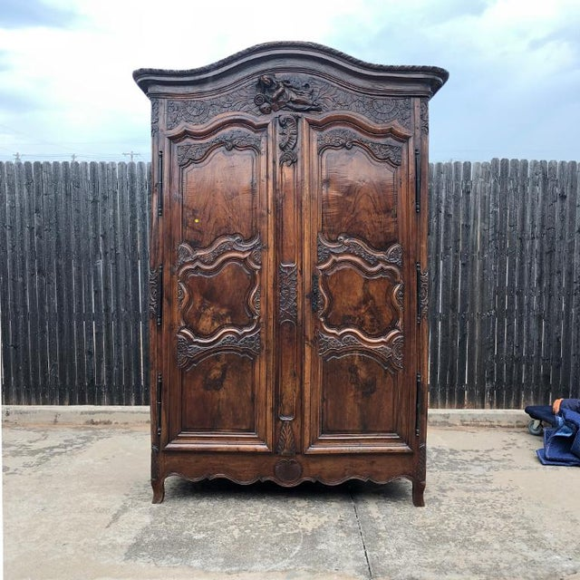18th Century Louis XV French Provincial Carved Armoire or Wardrobe With Figural Crown France 1700s For Sale - Image 13 of 13