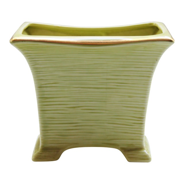 Mid Century Modern Chartreuse & Gold Planter For Sale