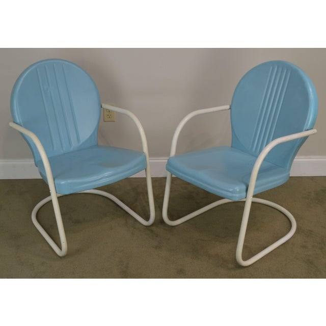 Art Deco Art Deco Style 1940's Vintage Pair Metal Patio Lawn Chairs For Sale - Image 3 of 13