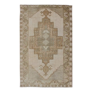 Vintage Turkish Oushak Rug in Sage Green, Taupe, Light Brown, and Light Green For Sale
