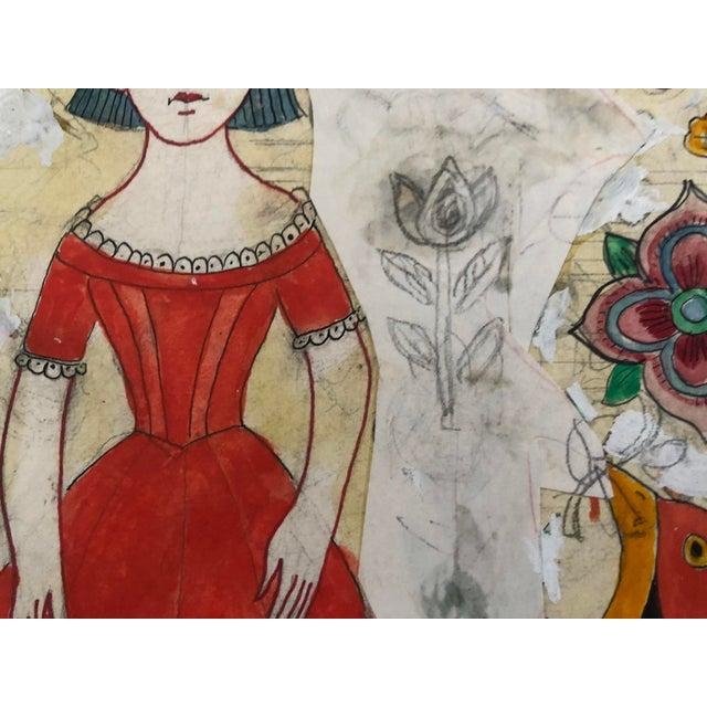 Folk Art Vintage Folk Art Drawing Collage. For Sale - Image 3 of 4