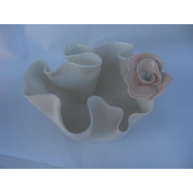 Ceramic Handkerchief Bowl with Flower - Image 3 of 5