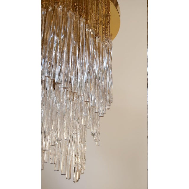 Transparent Vintage Mid-Century Murano Glass Chandelier Fixture For Sale - Image 8 of 11