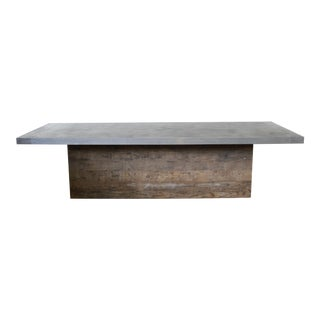 Industrial Zinc and Reclaimed Wood Dining Table For Sale