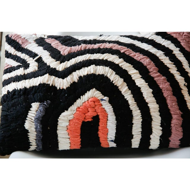 Contemporary Moroccan Vintage Boucherouite Rug Throw Pillow in Black, White, Pink, Grey - 28 For Sale - Image 3 of 4