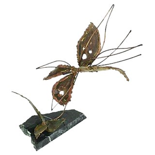 Copper Kinetic Butterfly Sculpture For Sale