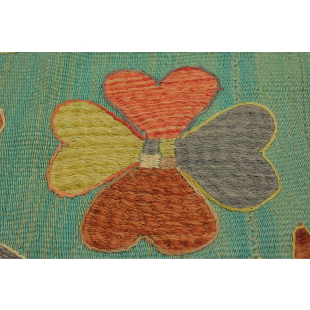 2000 - 2009 Embroidered Ikat Kilim Contrera Blue Wool Rug- 5′1″ × 7′ For Sale - Image 5 of 8