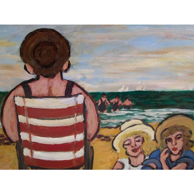 """Jean-Claude Maas """"Les Jumelles à La Plage"""" Painting - Image 3 of 5"""