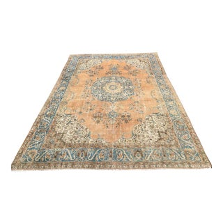 Oversized Hand Knotted Blue and Orange Oushak Rug For Sale