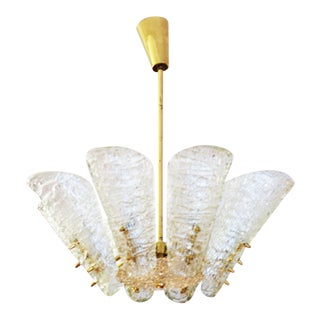 Vintage ice glass optics chandelier by Kalmar For Sale