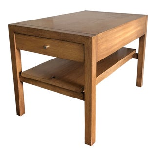 Large Walnut Side Table / Night Stand by John Keal For Sale