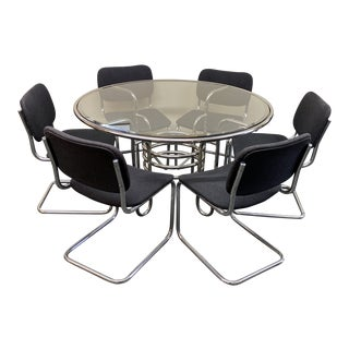 Mid 20th-Century Italian Chrome + Glass Dining Table + Six Chrome Chairs For Sale