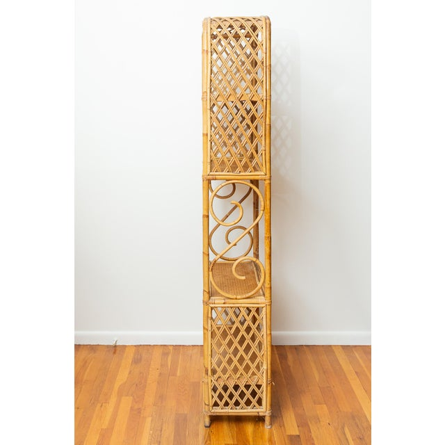 1960s 1960s Boho Chic Bamboo and Wicker Rattan Etagere For Sale - Image 5 of 11
