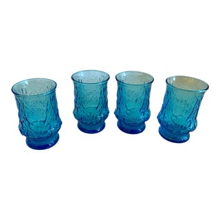 Mid Century Modern Ice Blue Rock Faced Glasses - Set of 4 For Sale