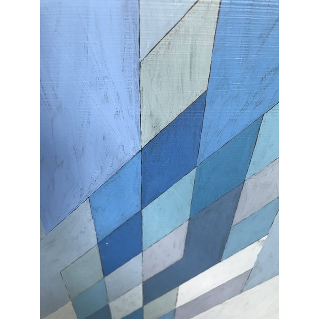 Blue 1970s Vintage Abstract Blue Geometric Painting For Sale - Image 8 of 10