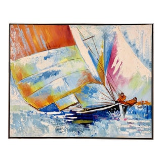 Mid Century Signed Original Painting America's Cup Sailboats Yachts Races For Sale