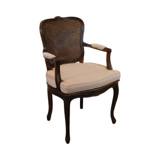 French Louis XV Style Vintage Caned Armchair For Sale