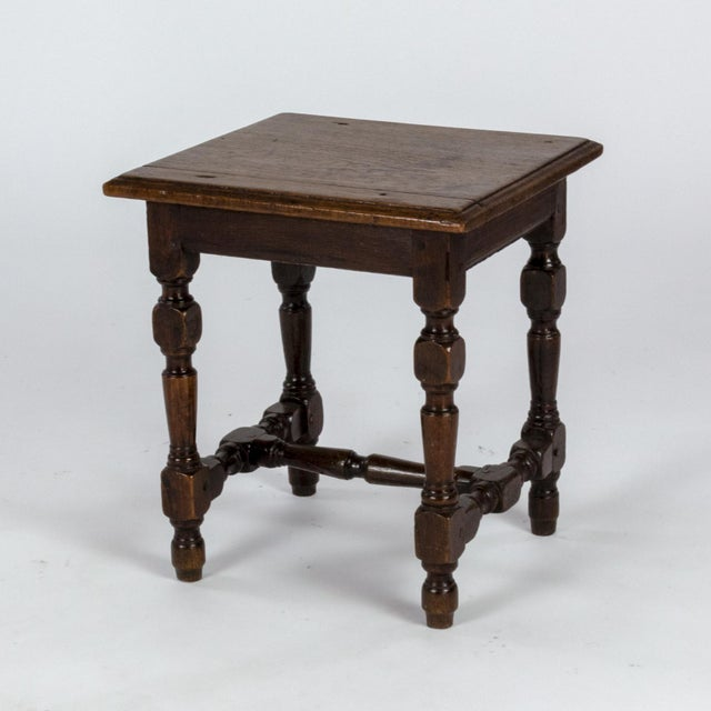 English Oak Square Stool With Turned Legs and H-Stretcher, Circa 1890 For Sale - Image 4 of 11