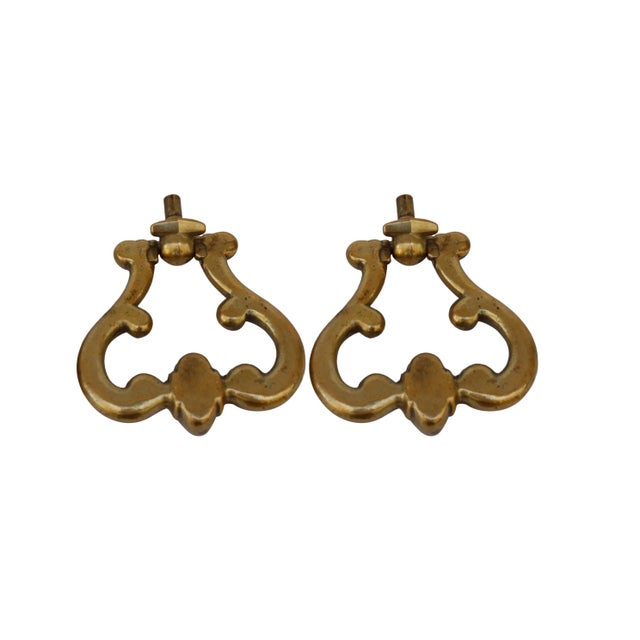 French Brass Drawer Pulls, a Pair For Sale - Image 4 of 6