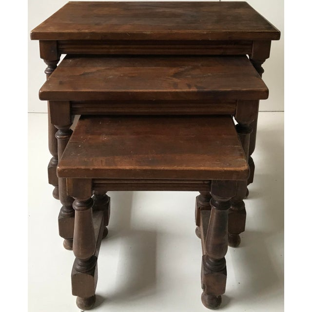 Rustic Vintage Medieval Style Nesting Tables - Set of 3 For Sale - Image 3 of 5