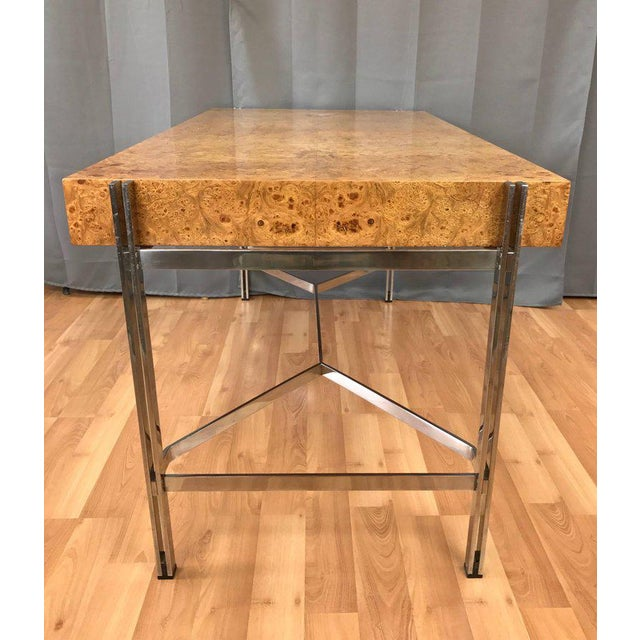 Notable Jack Freidin for Pace Burl Wood and Chrome Desk - Image 6 of 11