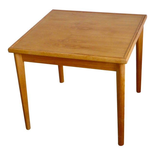 Mid Century Danish Modern Brdr Furbo Denmark Square Teak Game Table For Sale