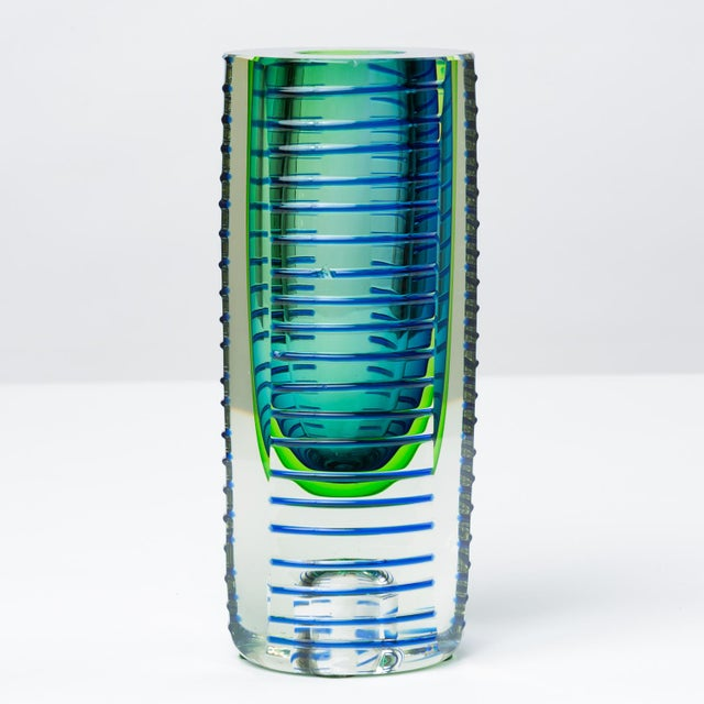 "A heavyweight glass vase by Fifth Avenue Crystal Ltd. for their ""Saturn"" collection, designed for retail in high-end..."