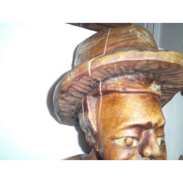 Vintage Wooden Carved Figures - Pair - Image 7 of 11