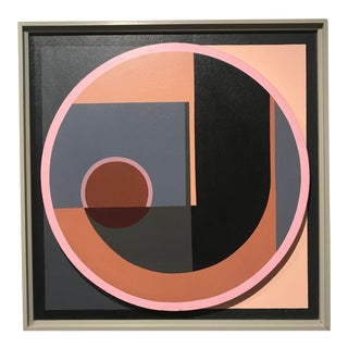 """1970s Mid Century Modern Dave Appleman """"Circles and Squares"""" Painting For Sale"""