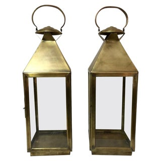Brass Lanterns or Candleholder for Garden or Indoor - a Pair For Sale