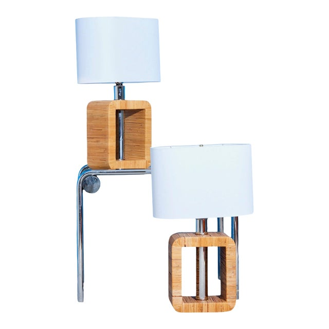 Mid-Century Rattan Lamps - a Pair For Sale