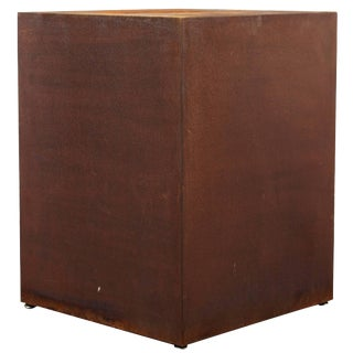 Custom Metal Square Plinth With a Rusted Patina by Lee Stanton For Sale